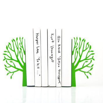 Bookends - Green Spring - laser cut for precision metal bookends will hold your favorite books