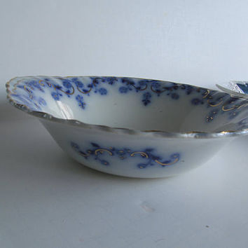 Beautiful Flow Blue Bowl Flow Blue China Bowls  Blue and White China Bowl Cobalt Blue Floral Plate Antique Candy Dish
