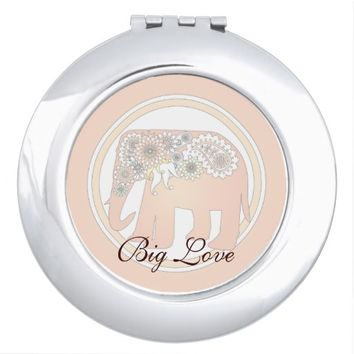 Pastel Rose Pink Paisley Elephant Cute Elegant Compact Mirror