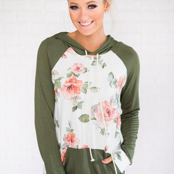 Floral Romance Hoodie ~ Olive