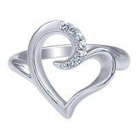 Sterling Silver Heart Shaped Ring with White Sapphires