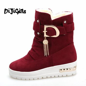 Winter Women's Boots Plus Velvet Swing Shoes Snow Platform Boots Female Thermal Cotton-padded Shoes Flat Ankle Boots