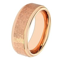 Rose Gold Wedding Band Mens Engagement Ring 18k Tungsten Carbide 8mm Hammered Wedding Band Polished Stepped Edges Male Anniversary Male Wedding Band