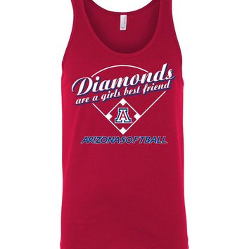 Official NCAA Venley University of Arizona Wildcats U of A Wilber Wildcat BEAR DOWN! Softball Diamonds are a Girls Best Friend Unisex Tank - uofa2489