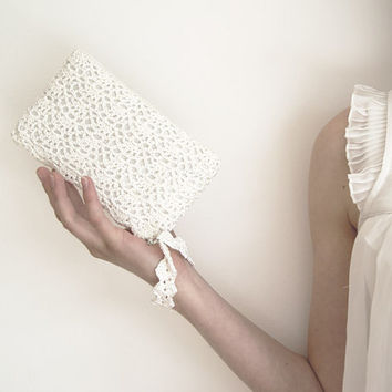 White Queen Rectangular Crochet Clutch Bag