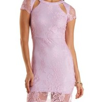 Lavender Cut-Out Bodycon Lace Dress by Charlotte Russe