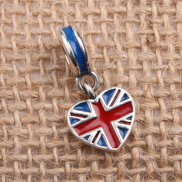 England Heart Flag Charms Original 100% Authentic 925 Sterling Silver Thread Beads fit for Pandora Charms bracelets