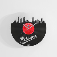 Baltimore city wall clock from upcycled vinyl record (LP) | Hand-made gift for Baltimore lover | Baltimore wall decoration, gift, present