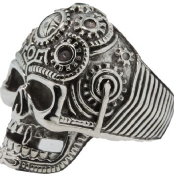 Stainless Steel Mechanical / Pentagram Skull Ring (176)