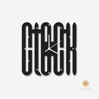 Clock Typography Art Modern Wall Clock