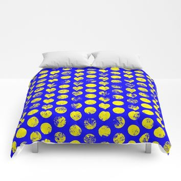 Distressed Blue Spots Comforters by textart