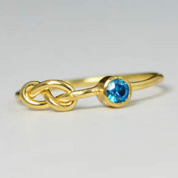 14k Blue ZIrcon Infinity Ring, 14k Gold Ring , Stackable Rings, Mother's Ring, December Birthstone Ring, Gold Infinity Ring, Gold Knot Ring