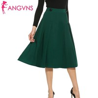 ANGVNS Lady Skirt Vintage Elegant Pleated A-line Big Swing Saia Longa Skater Skirt Women Casual Fit and Flare Skirts S,M,L,XL