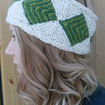 Headband Earwarmer Green Cream Handspun Knitted