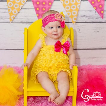 Yellow Romper, Hot Pink & Yellow Headband, Cake Smash Outfit Girl, Romper and Headband SET, Baby Girl Romper, Birthday Romper, Romper