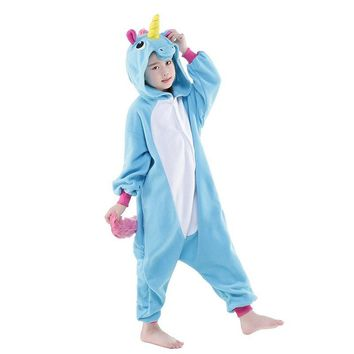 NEW Kids Pegasus little pony Pink Blue Unicorn Onesuits costume Girls Boys animal cosplay pajamas pyjama party halloween Sleep