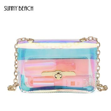 SUNNY BEACH Transparent Hologram  laser Bag Women Hand Clutches PVC See Through Clear Small Chain Bag