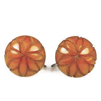 Bakelite Earrings, Butterscotch Caramel, Deeply Carved, Button Style, Pin Up Girl, Vintage Jewelry