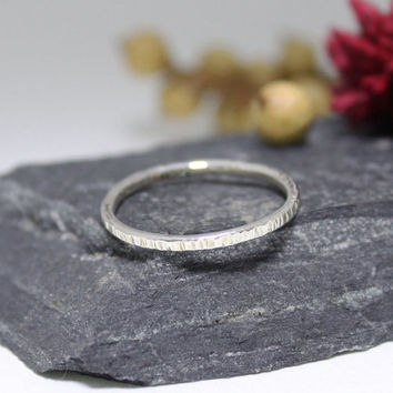 Sterling Silver Chain Press Stacking ring/ Silver Stacking Ring/ Simple Ring/Rustic Silver Ring