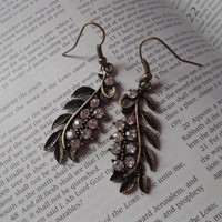 Earrings Brass Leaves Clear Rhinestone Crystals Dangle Dangly Spring Jewelry