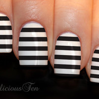 Fab Black Stripe Nail Wraps Art Water Transfer Decals by azzai
