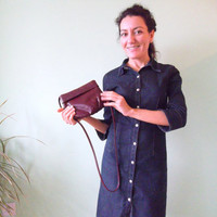 Maroon Messenger, Small Slouchy Bag, Soft Leather Pouch, Oxblood Sling Bag, Wine Red Shoulder Bag, Distressed Leather Boho Burgundy Purse,