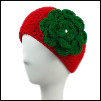 Red Earwarmer with Green Flower