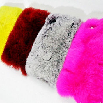 Multicolor Rabbit Fur Case for Iphone 4 4s 5 by trendcases on Etsy