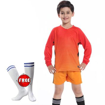 Free Football Socks Sport Kids Soccer Jerseys Set Survetement Kit Child Kids Futbol Goalkeeper Training Uniforms Maillot De Foot