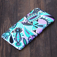 Turquoise Green Floral iPhone 6s Plus/6/5S/5C/5/4S/4 Protective Case #548