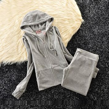 Juicy Couture Studded Simple Logo Crown Velour Tracksuit 31058 2pcs Women Suits Grey