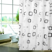 Modern Waterproof Bathroom Shower Curtain Thickened Grid Metal Buckle Black+ White (Size: 180cm by 180cm, Color: Multicolor)