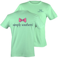 Simply Southern Classic Preppy Pink Bow Mint T-Shirt