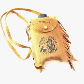 Vintage Native American Plastic Bottle / Suede Leather Pouch Purse