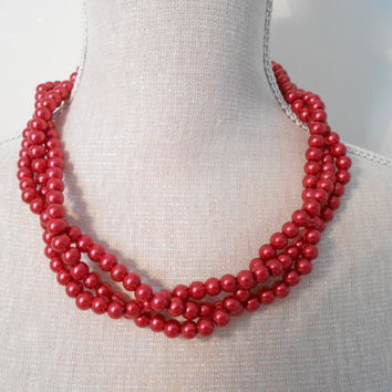 Red multi strand plaited chunky beads pearl necklace, Unique for wedding, Bridesmaid Gifts, Mother of the Bride, Valentine's day