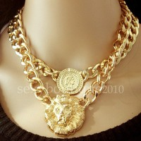 Vintage Necklace Coin Thick Chain