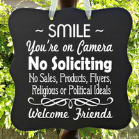 No Soliciting Sign, Smile, Camera, Video, Surveillance, Front Door Sign, Door Hanger, Welcome Sign, Do Not Disturb, Home Decor, Wood Sign