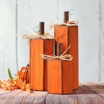 Wooden Pumpkins - Rustic Thanksgiving - Primitive Thanksgiving