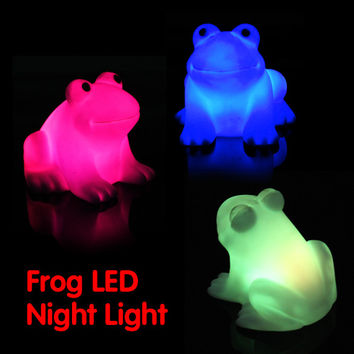 Free Shipping Color Changing Magic LED Cute Frog Night Light  Energy Saving Novelty Lamp Colorful