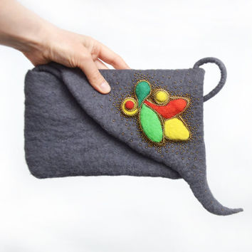 Clutch purse, felt purse, felted clutch bag, gray felt handbag, eco-friendly, felted wool, nature, OOAK, art, handmade, Nunofelt,  Handbags
