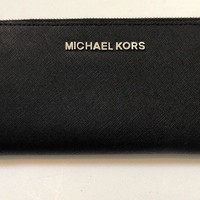 MICHAEL KORS Saffiano Leather Continental Wallet (Black w/ Silver Hardware)