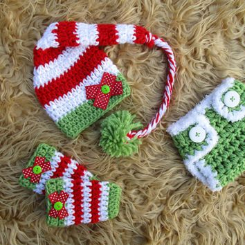 Baby Girl Christmas Elf Hat Diaper Cover Legwarmers Newborn Photo Prop