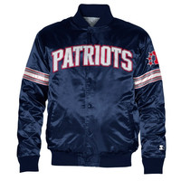 Starter New England Patriots Satin Varsity Midweight Button-Up Jacket - Navy Blue