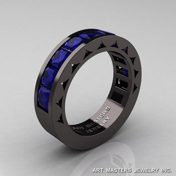 Mens Modern 14K Black Gold Princess Blue Sapphire Channel Cluster Sun Wedding Ring R274