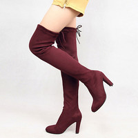 Size 34 43 8 Color Women's Thigh High Boots Suede Boot Classic Stretch Over The Knee Boots Wine Royal Blue Beige Sexy Slim shoes-in Over-the-Knee Boots from Shoes on Aliexpress.com | Alibaba Group
