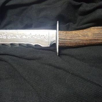 "Ruby's Demon-Killing Knife from SUPERNATURAL - Handmade 14"" Inscribed Steel Knife w/ Elk Horn Handle"