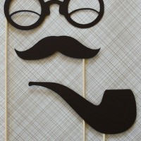 Smoking Hot Gent Pipe Mustache Glasses on a by LittleRetreats