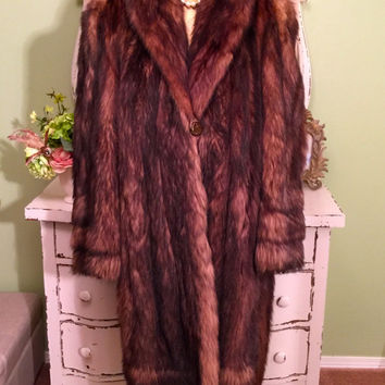1950s Vintage Fur, Swagger Box Coat, Stunning Glam Coat, 50s 40s Long Fur, Carpers Furs, Soft American Opossum, Women's Size Large, Med Lrg