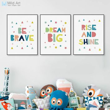 Modern Color Motivational Dream Quotes A4 Poster Wall Art Picture Cute Nordic Baby Kids Room Decor Canvas Painting No Frame Gift