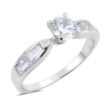 Round Brilliant with Side Baguettes Cubic Zirconia CZ Bridal Wedding Engagement Ring Sterling Silver